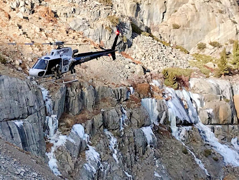 CHP H-40 coming in for the extrication of the injured Ice climber (1/1/2018 Tanya Godinez)